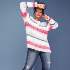 Lane Bryant Multicolored Striped Fuzzy Sweater